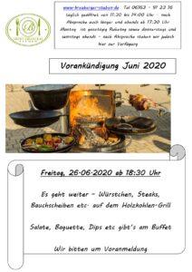2020-06-26 Vorankündigung Grillabend